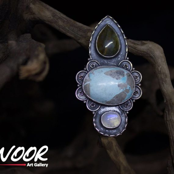 Handmade silver ring with Turquoise/labradorite/moonstone