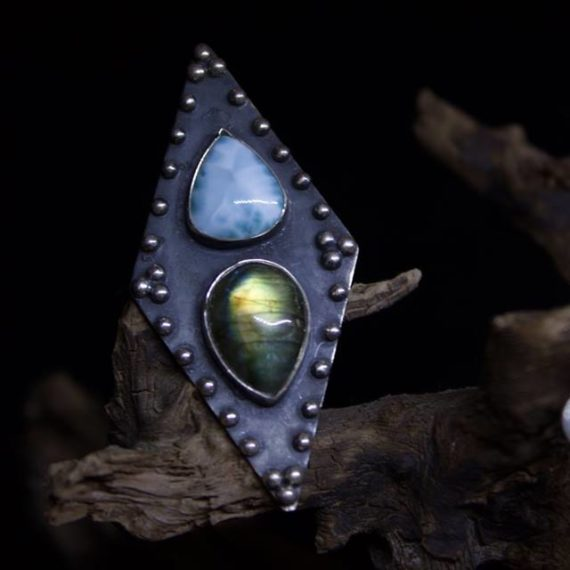 Handmade silver ring with Larimar and Labradorite stones