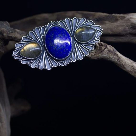 Handmade silver ring with Lapis and labradorite stones