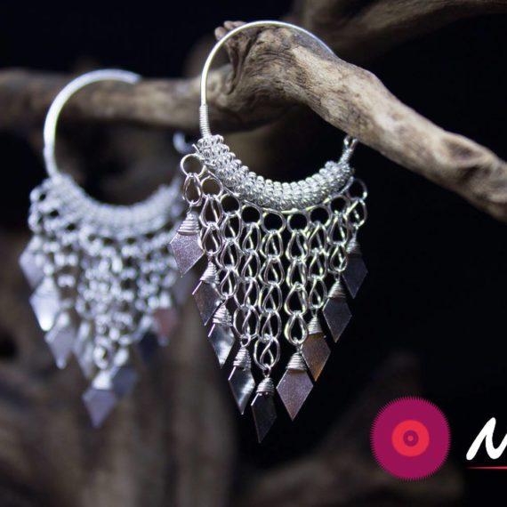 Traditional silver zira earrings