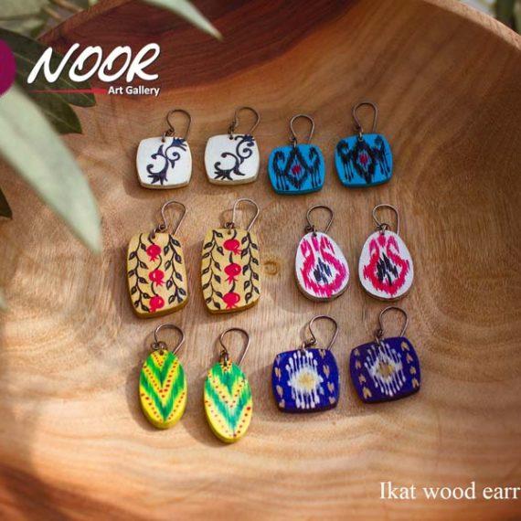 Ikat wooden earrings