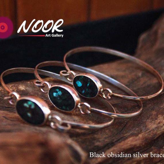 Black obsidian silver bracelets