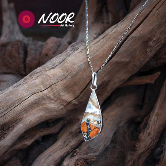 Jasper silver necklace