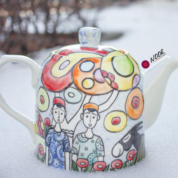 Hand painted porcelain teapot