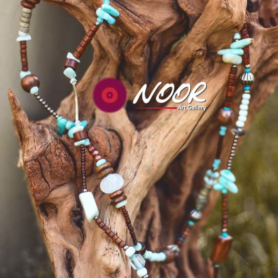 Wooden necklace with natural stones